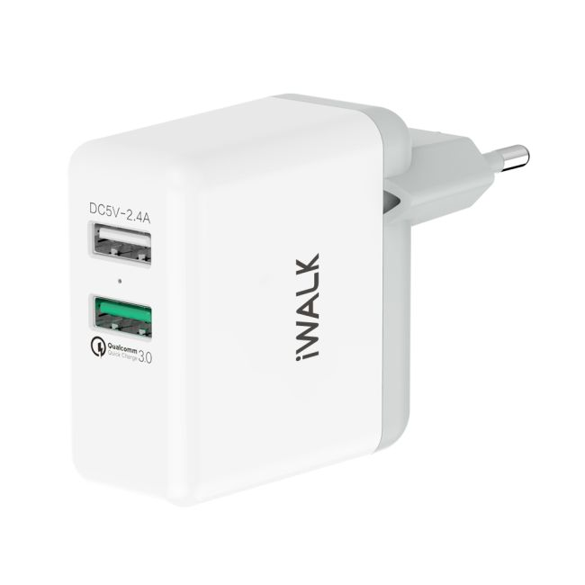 iWalk Leopard DUO 3.0 Dual USB Charger White Image